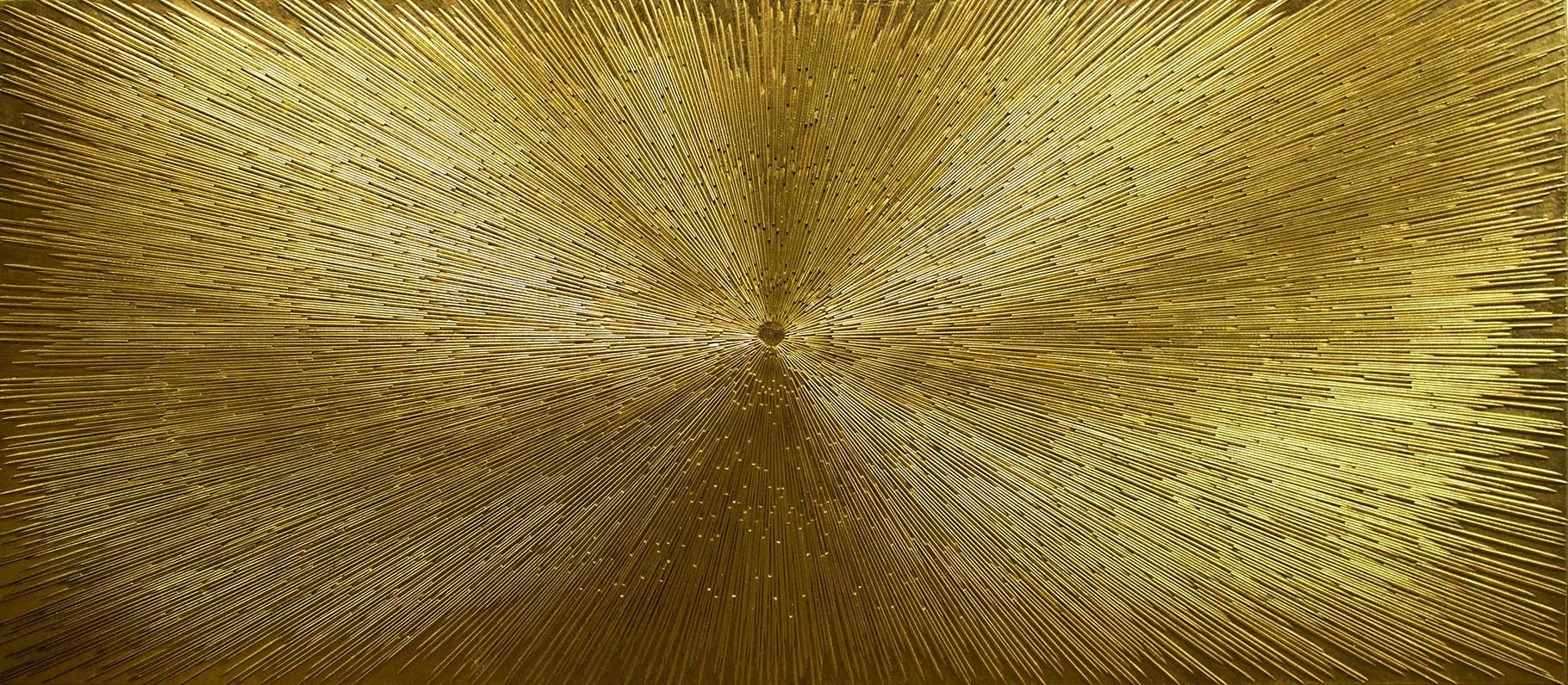 Solarplexus- 230x90 cm -Holz auf Leinwand-24 Karat Blattvergoldet