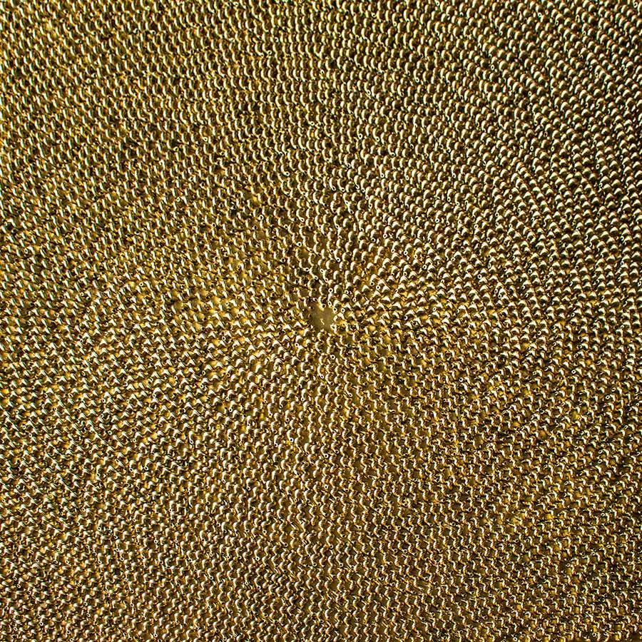 NR-22- Fussilli-Gold- 100x100 cm - Nudeln auf Leinwand -goldbronziert