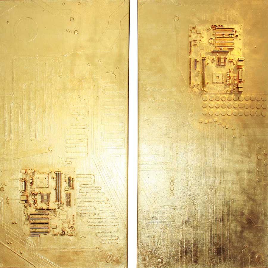 NR 33 - Zeitenwende - 40x120 cm x2 -Computerplatine -goldbronziert