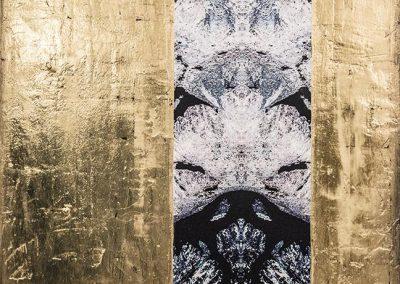 13-Bergkristall - 80 x 80 cm - Leinwanddruck mit Gipsstruktur - 24-Karat Blattvergoldet