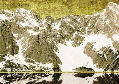 17- Mieminger Plateau 140 x 50 cm - Leinwandruck Detailvergoldet
