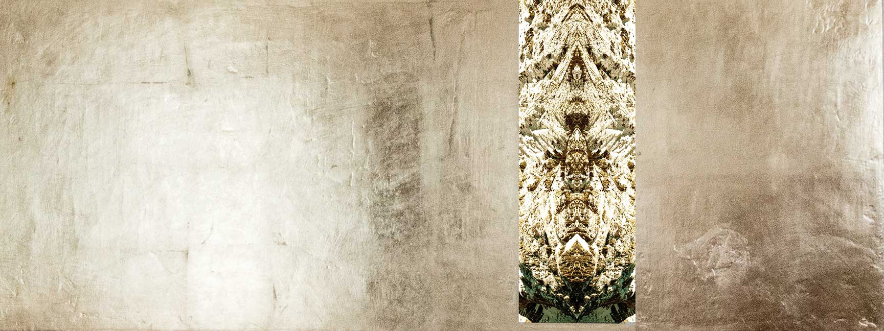 21-Mundewesen-3-160-x-70-cm-Leinwanddruck-mit-Gipsstruktur-vergoldet
