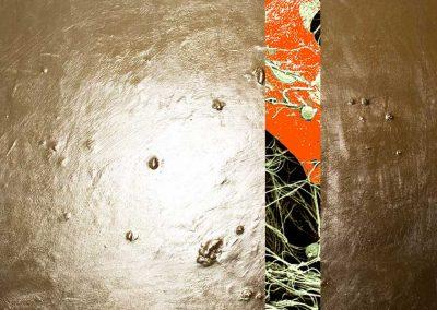 3-Detail von einer Bindegewebszelle - Mikroskopaufnahme mit Goldstruktur - 140 x 120 cm