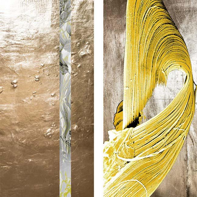 5-Collagenfaser - gelb mit Gold - 80 x 170 cm