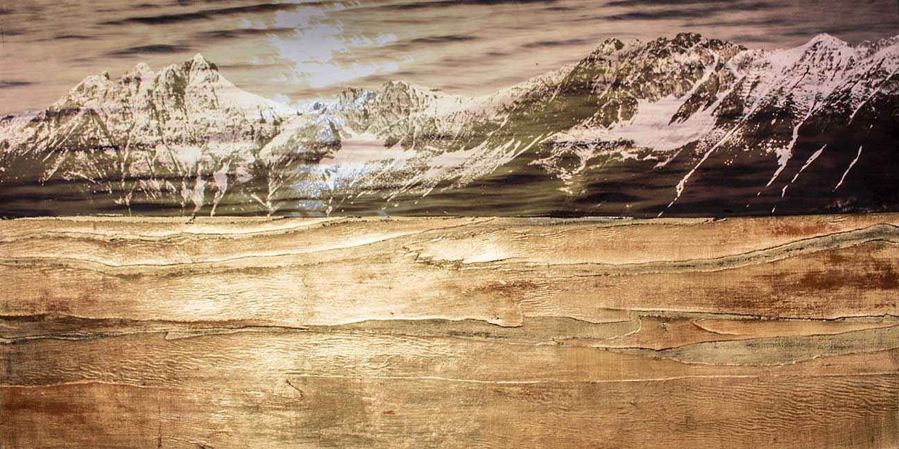 7- Nordkette im Goldmeer  180 x 70 cm -Leinwanddruck mit Holzfuniere