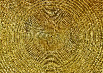 NR-7- OM - 100x100 cm-Struktur auf Leinwand-24 Karat Blattvergoldet