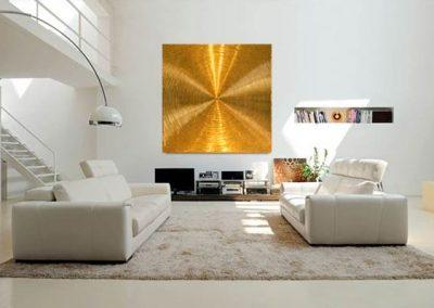 Spiralen-140cm x 140cm - Struktur auf Leinwand-24 Karat Blattvergoldet - Raumdarstellung